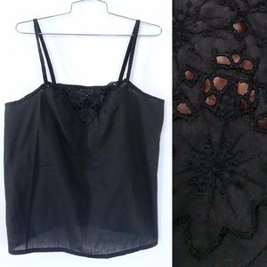Vintage 1980's black lace cotton tank top